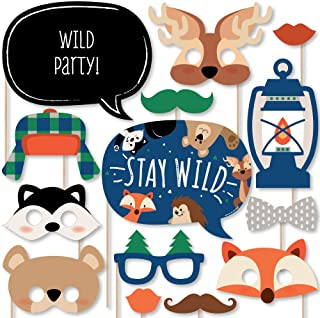 Big Dot of Happiness Stay Wild - Forest Animals - Woodland Baby Shower or Birthday Party Photo Booth Props Kit - 20 Count