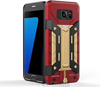 Cocomii Transformer Armor Galaxy Note 5 Case NEW [Heavy Duty] Premium Built-in Multi Card Holder Kickstand Shockproof Bumper [Military Defender] Full Body Cover for Samsung Galaxy Note 5 (TF.Red/Gold)