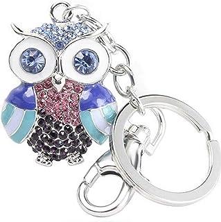 Quadiva- gioielli da donna - ciondolo gufo colorato - Colorful Owl - (colore: argento / multicolore) decorato con cristalli