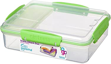 Sistema To Go Collection Snack Attack Duo Food Storage Container, 32.9 oz, Clear with Green