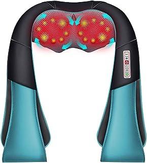 Masajeador de Espalda Electrico 16 Rodillos, 3D Rotación con Calor, 3 Intensidades, 6 Botones, Masajeador Cuello/Hombro/Piernas, Uso de la Oficina Doméstica y del Coche