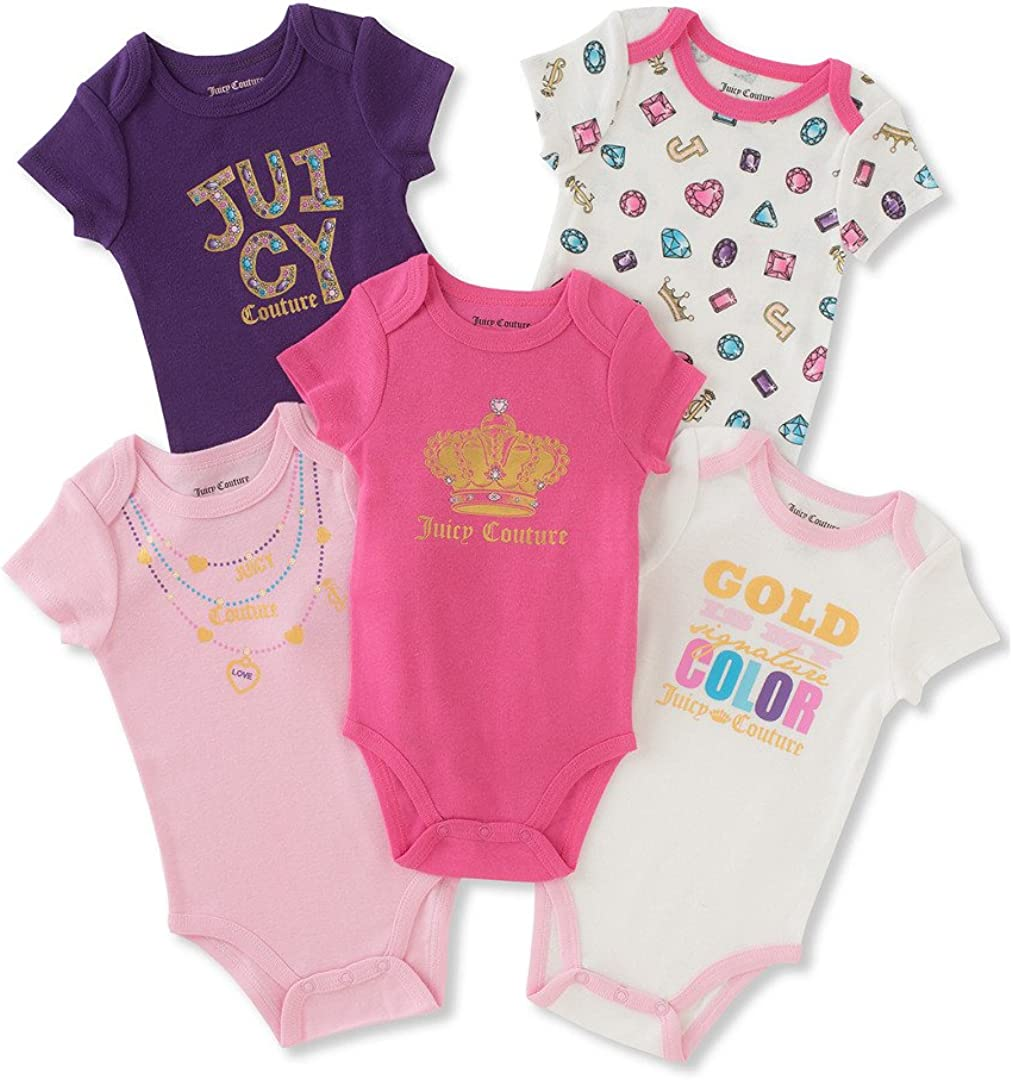 Juicy Couture Baby Girls 6 Pack Bodysuits