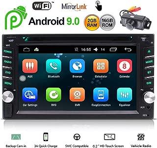EINCAR アンドロイド9.0 Bluetooth付きカーステレオ Double Din ヘッドユニット6.2インチタッチスクリーンカーラジオプレーヤーGPSナビゲーションシステム無料バックアップカメラサポートWiFi高速ブートミラーリンクOBD2 2GB ROM