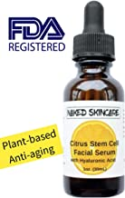Naked Skincare - Citrus Stem Cell Serum with Hyaluronic Acid 1oz – FDA registered, Best Natural Anti-Aging Formula for Fine Lines, Wrinkles. Deep Hydrating and Moisturizing, Fragrance-free, for face.