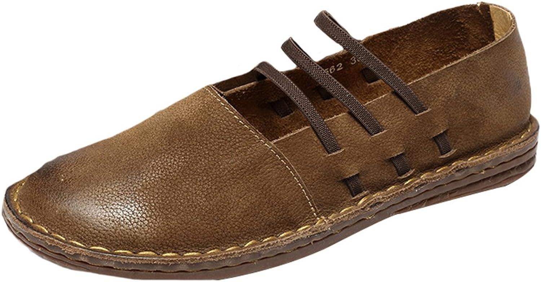 Mallimoda Damen Weinlese Handgemachte Lederschuhe Casual Slipper Low-top Schuhe