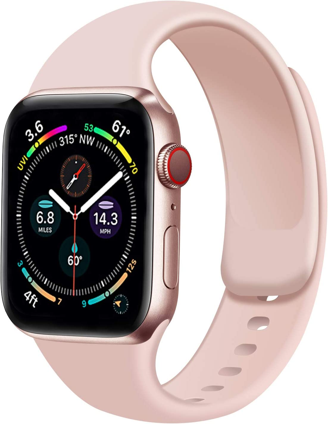 Rain gold Watch Band Compatible with Apple Watch 38mm 40mm 42mm 44mm,Soft Silicone Sport Replacement Strap Compatible for iWatch Series SE 6 5 4 3 2 1