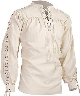 KEEPWO Men's Retro Renaissance Shirt Long Sleeve Tops Medieval Tunic Costume Pirate Baggy Shirt