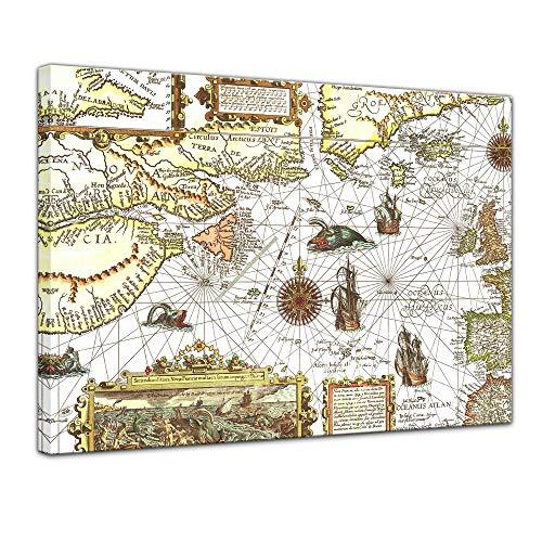 Bilderdepot24 Wandbild - Alte Seekarte 60x50 cm einteilig Querformat - Leinwanddruck - Antike Karte des Nordatlantik - Maritim und Nautik