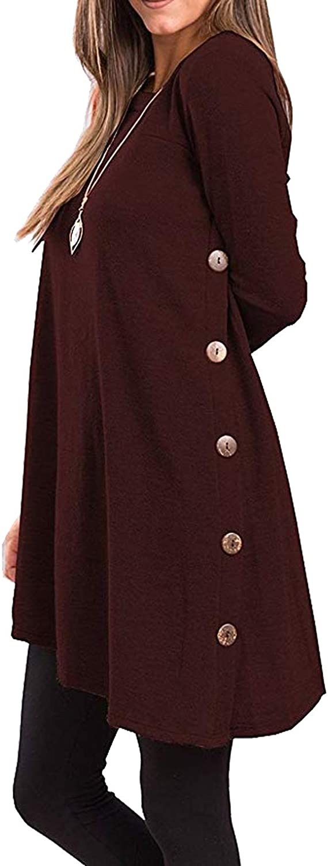 Casuress Women's Tunic DressLong Sleeve Scoop Neck Button Side Dress Wine Red