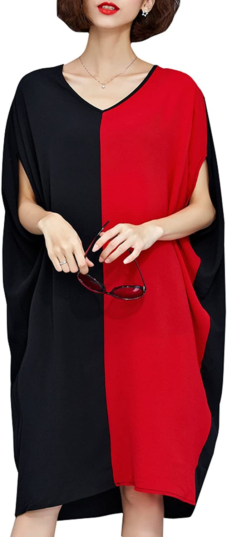 ELLAZHU Women Short Sleeve Solid Crew Neck Side Pockets TShirt Dress GA70