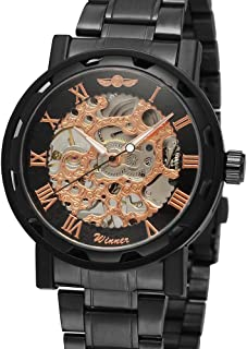 Fashion Men's Watches Skeleton Noctilucent Mechanical Movement Roman Numerals Waterproof Sports Business Analog Dial Stain...