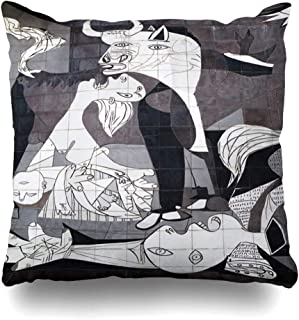 DIYCow Throw Pillow Covers Pablo Guernica Spain October 10 Tiled Museum Picasso Parks Spanish Abstract Cubism Painting History Home Decor Pillowcase Square Size 20 x 20 Inches Zippered Cushion Case