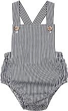 MKLLYNG Toddler Baby Kids Girls Boys Sleeveless Solid Stripe Romper Sunsuit Clothes