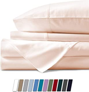 4 Pcs Sheet Set 600 Thread Count 100% Cotton Sheet Rose Pink Solid Full Size Long Staple Cotton Fits Mattress 12