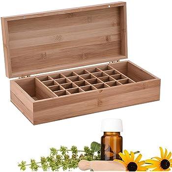 BrilliantDay Caja de Almacenamiento de Aceite Esencial de Madera con 26 Compartimentos giratorios para aceites Esenciales, aromaterapia, Caja de exhibición de Aceite para Viajes y presentaciones: Amazon.es: Hogar