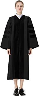 GraduationMall Classic Doctoral Graduation Gown With Black Velvet Piping