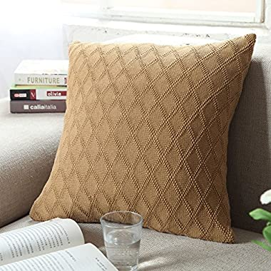 DOUH Cable Knitted Pillow Case Cushion Cover Decorative Knitting Patterns Square Warm Throw Pillow Cover with Zipper Concealed(Khaki,18  x 18 )