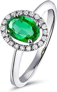 Daesar Anello Donna Fidanzamento Oro Bianco 18K, 4 Griffe Smeraldo Taglio Ovale 0.42ct con Diamante 0.06ct Anello Oro Bian...