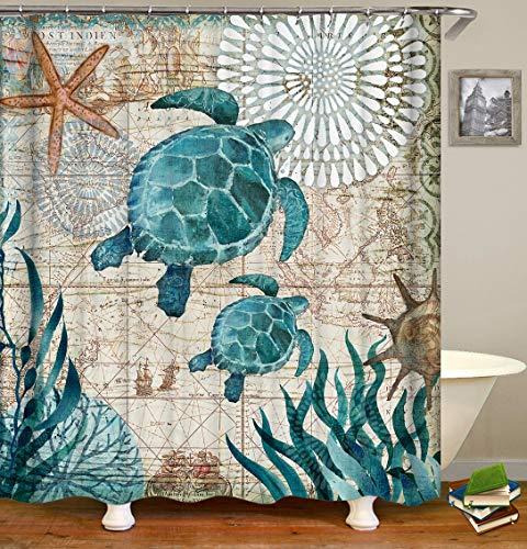 Amarillo mapa náutico flores blancas estrellas de mar tortuga verde alga coral barco cortina de ducha baño decoración impermeable tela