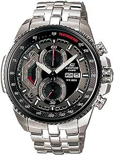 Men's EF558D-1AV Silver Stainless-Steel Quartz Watch with Black Dial
