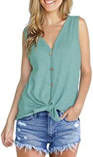 Womens Waffle Knit Tunic Blouse Tie Knot Henley Tops Loose Fitting Plain Shirts