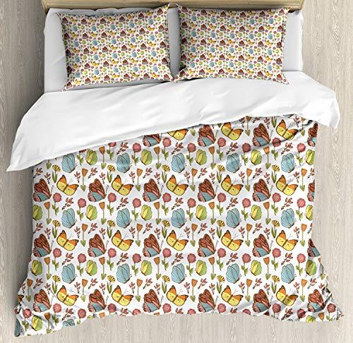 ABAKUHAUS Blumen Bettbezug Set King Size, Hagebutte Pflanze und Pfingstrose, Kuscheligform Top Qualität 3 Teiligen Bettbezug mit 2 Kissenbezüge, Mehrfarbig