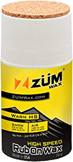 ZUMWax HIGH SPEED RACING RUB ON WAX Ski/Snowboard/NORDIC/Cross-Country – WARM Temperature - 70 gram - Super-FAST!!! Environmentally Friendly & NON-TOXIC! FULLY TSCA COMPLIANT!! Excellent spring wax!!!