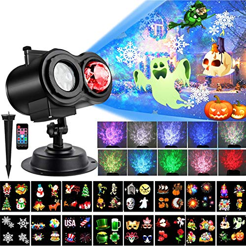 LED Christmas Projector Lights, Yokgrass 2-in-1 Ocean Wave Light Projector with 16 Slides Patterns 10 Colors Waterproof Outdoor Indoor Holiday for Halloween Xmas Birthday Party Landscape Decorations