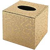 AMASUNHO Tissue Box Cover Square,Tissue Box Holder,Tissue Holders for Bathtissroom and Office,Bright Gold