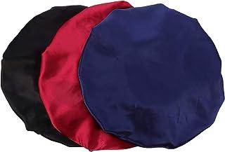 Beaupretty — Touca de dormir de cetim com faixa larga elástica para chuveiro, touca para dormir, gorro para mulheres e men...