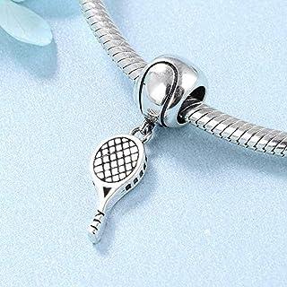 Ciondolo a forma di racchetta da tennis in argento Sterling 925 adatto per braccialetti o collane stile europeo