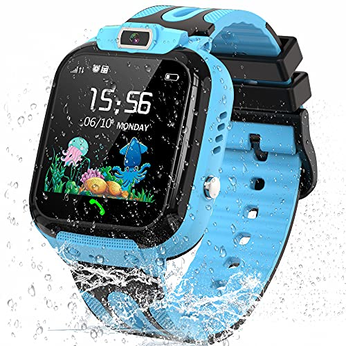 Kids Smart Watch for Boys Girls, Waterproof Kids Smartwatch with GPS Tracker, Call Message Alarm SOS Camera Cell Phone Watch for Children(Blue)