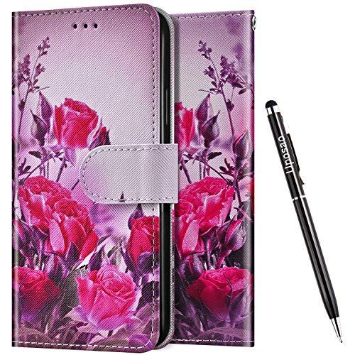 Uposao Kompatibel mit Samsung Galaxy J4 Core Hülle Leder Handyhülle Schutzhülle Bunt Cartoon Muster Flip Wallet Bookstyle Hülle Tasche Lederhülle Klapphülle Magnet Kartenfächer,Rosa Blumen