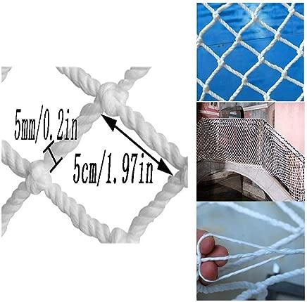 HWJ Child Safety Net Stairs Protection Net Railing Anti-fall Net Suspension Bridge Net Anti-cat Net White Decorative Net  Outdoor Fence Net 5cm Net 5mm Rope  Size 4x7m