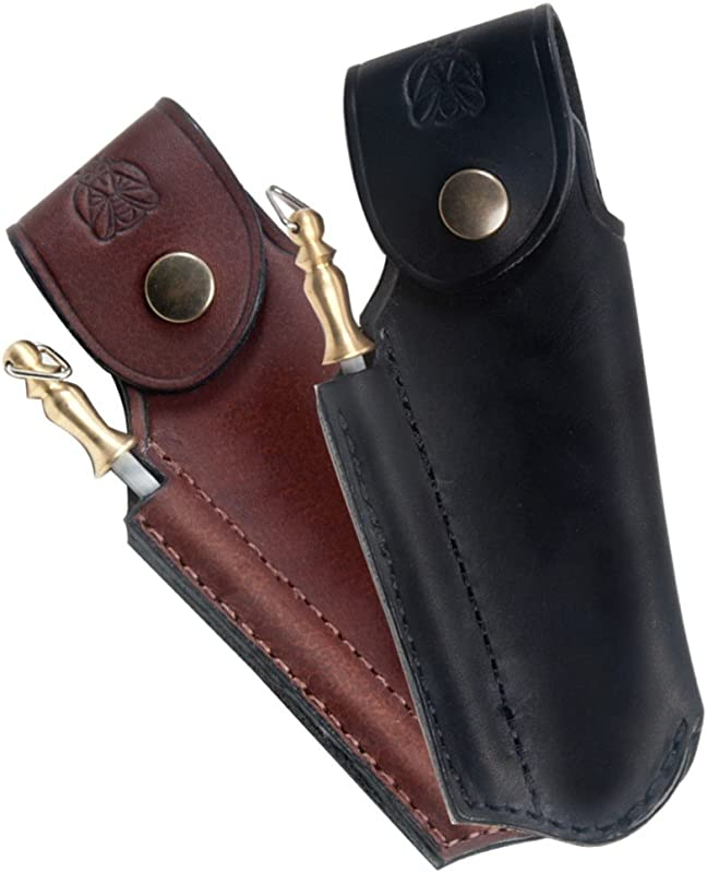 Finest Quality Leather Sheath For Laguiole With Sharpener Color Black Direct From France