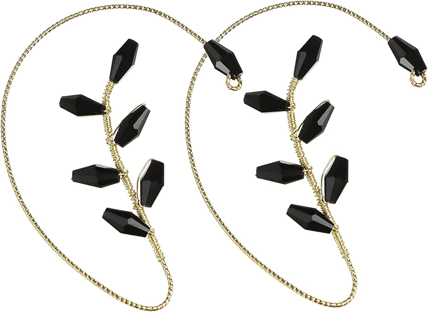 1 Pair of Ladies Black Crystal Earmuff Earrings, Non-Pierced Earrings, Wrap-Around Simple and Fashionable Hollow Hypoallergenic Ear Clips for Ladies,Suitable for Various Places