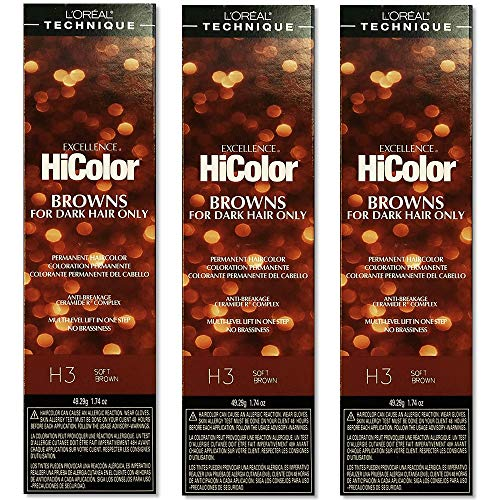 L'Oreal Excellence Creme HiColor H3 Soft Brown Hair Tint HC-05115 (3...