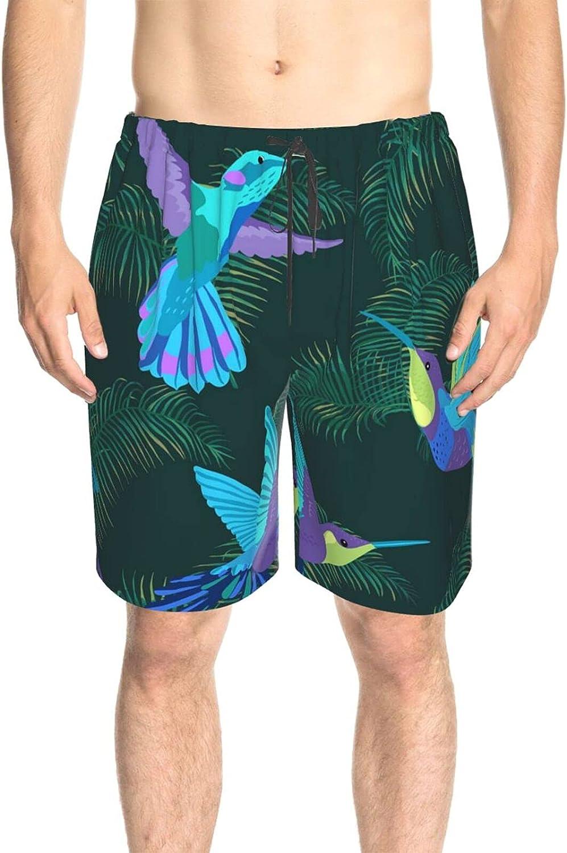 JINJUELS Mens Swim Trunks Purple Blue Hummingbird Swim Boardshorts Fast Dry Fashion Beach Swim Trunk with Lining