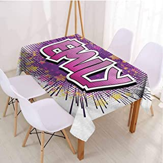 VICWOWONE Emily Terrace Rectangle Tablecloth Table Decoration Popular Name Cartoon,Rectangle - W60 x L102 inch