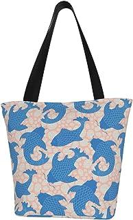 Lesif Einkaufstaschen, japanischer Fischteich, blau, weiß, orange, Segeltuch, Schultertasche, Einkaufstasche, wiederverwendbar, faltbar, Reisetasche, groß und langlebig, robuste Einkaufstaschen