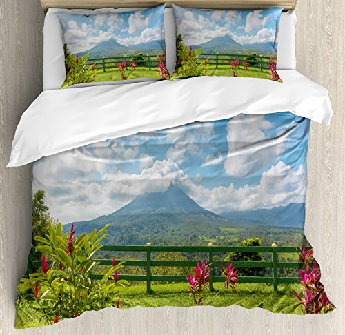 Volcano King Size Duvet Cover Set by Ambesonne, View of the Arenal Volcano from Observation Point Costa Rica Scenic View, Decorative 3 Piece Bedding Set with 2 Pillow Shams, Light Blue Pink Green
