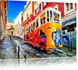 Pixxprint Straßenbahn in Portugal 120x80cm Leinwandbild