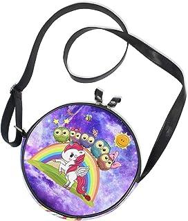 Ahomy Runde Tasche klein für Frauen – Galaxy Nebel Sternennebel Einhorn Eule Regenbogen Damen Mode Crossbody Tasche Umhäng...