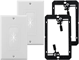 2 Pack Brush Wall Plate with Mounting Bracket,ZEXMTE Single Gang Multimedia Pass Through Insert with Decorator Wall Plate ...