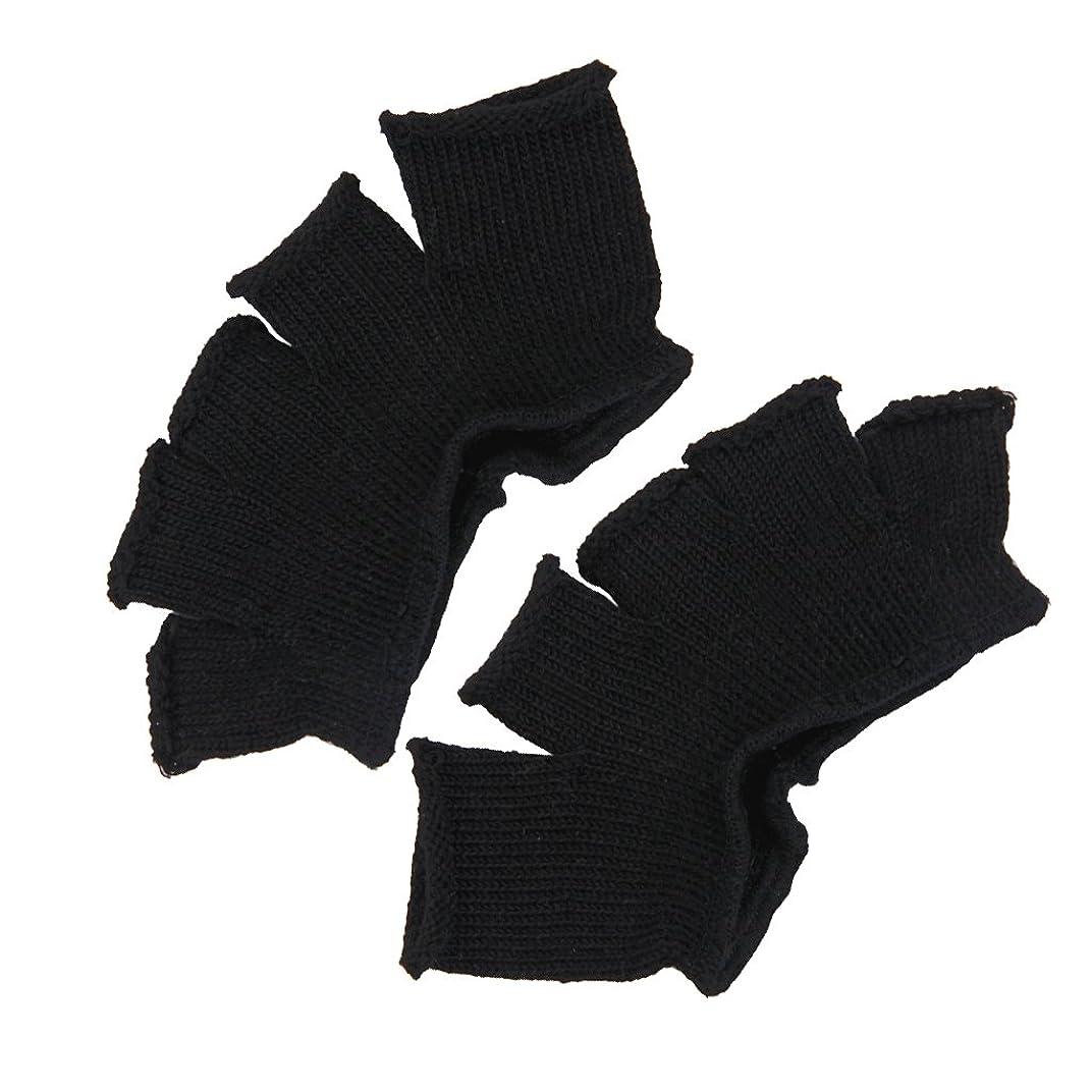 百万アカウント仕えるFootful 5本指カバー 爽快指の間カバー 2枚組 男女兼用 足の臭い対策 抗菌 防臭 フットカバー (ブラック)