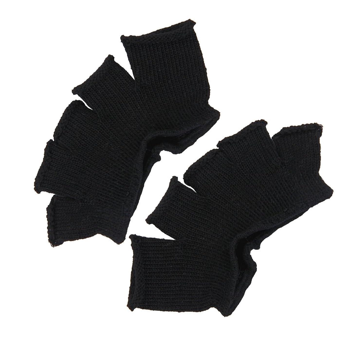 ナインへ感情のウィスキーFootful 5本指カバー 爽快指の間カバー 2枚組 男女兼用 足の臭い対策 抗菌 防臭 フットカバー (ブラック)