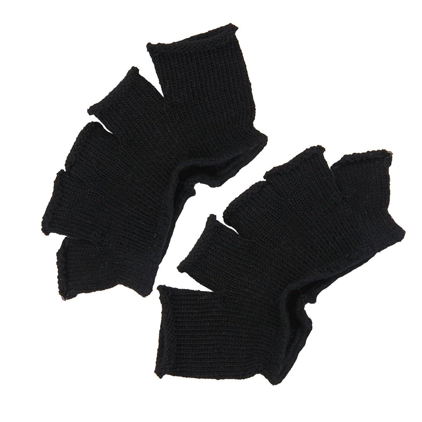 それ混乱した準備するFootful 5本指カバー 爽快指の間カバー 2枚組 男女兼用 足の臭い対策 抗菌 防臭 フットカバー (ブラック)