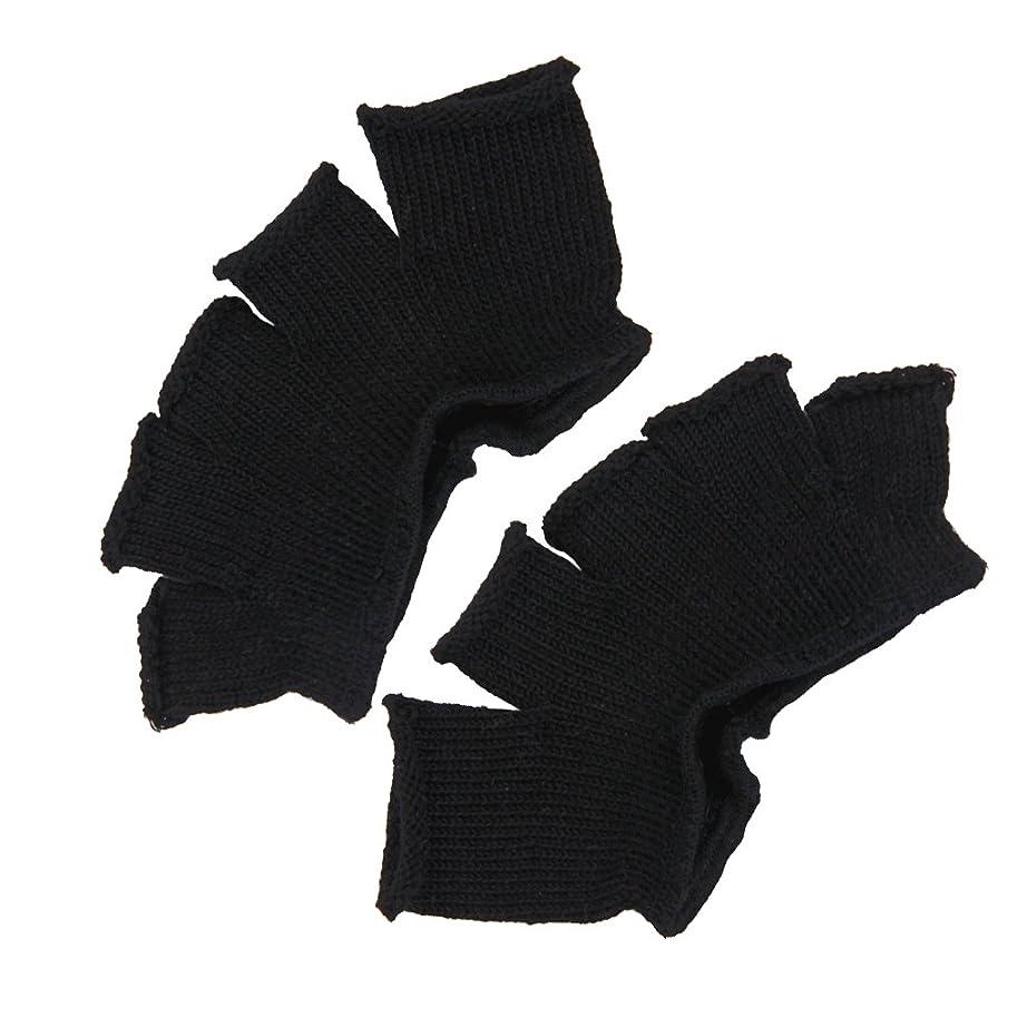 注意汚染明確なFootful 5本指カバー 爽快指の間カバー 2枚組 男女兼用 足の臭い対策 抗菌 防臭 フットカバー (ブラック)