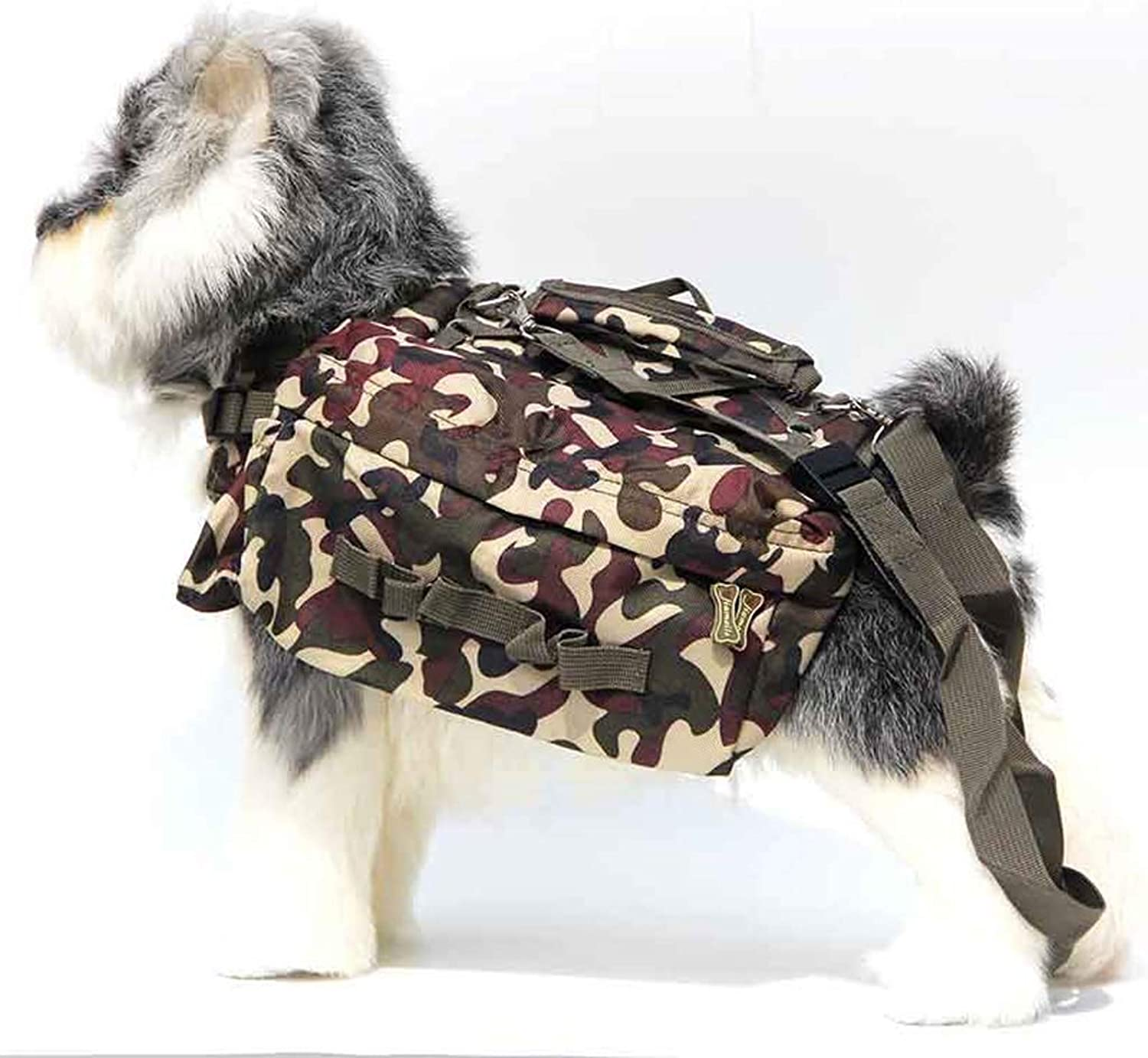 Dog Saddle bag Durable Waterproof Tactical Breathable Pet Chest Strap Dog Harness Backpack for Traveling Hiking Camping, Medium Size