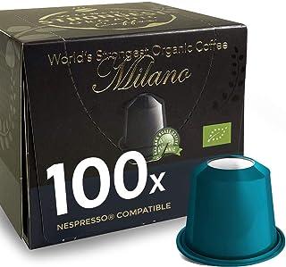 Espresso Milano, The World's Strongest Organic Coffee, 100 Nespresso Compatible Caps, By REAL COFFEE Denmark